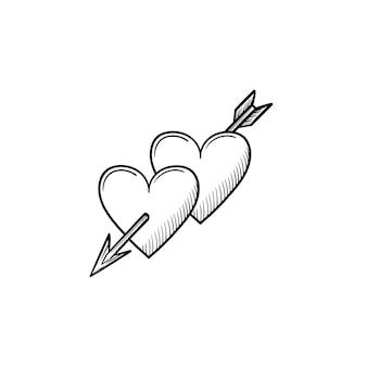 Ícone de desenho de corações com contorno desenhado de mão de seta de cupido