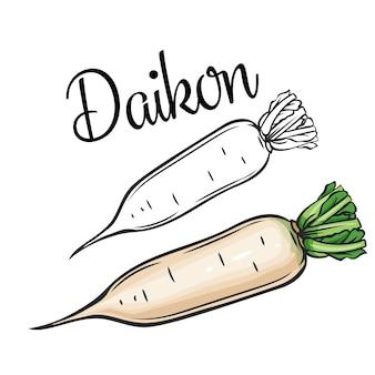 Ícone de desenho de daikon vegetais em estilo retro
