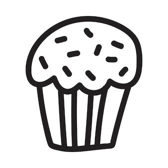 Ícone de desenho de doodle de cupcake adequado para design de padrão de logotipo
