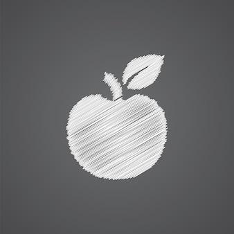 Ícone de desenho de logotipo de esboço da apple isolado em fundo escuro