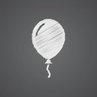 Ícone de desenho de logotipo de esboço de balão isolado em fundo escuro