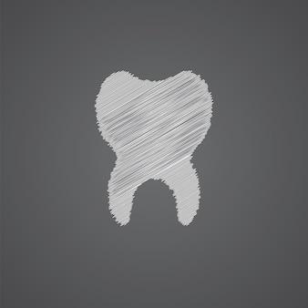Ícone de desenho de logotipo de esboço de dente isolado em fundo escuro