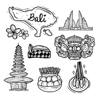 Ícone de desenho de mão de ilha de bali doodle coleção grande conjunto, ilustração