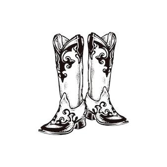 Ícone de desenho de moda de bota de cowboy