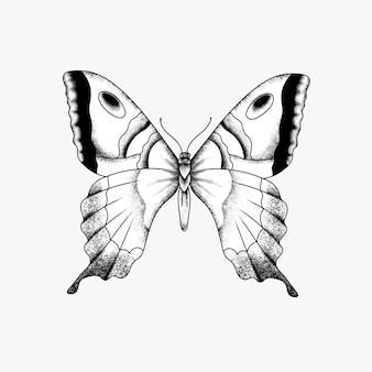 Ícone de desenho de tatuagem de borboleta vintage simples e antigo