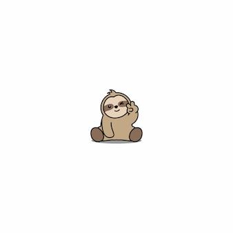 Ícone de desenhos animados do olho preguiça piscando