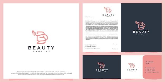 Ícone de design de logotipo de linha de salão de beleza feminino e spa e modelo de cartão de visita