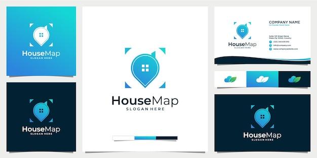Ícone de design de logotipo de mapa doméstico com modelo de cartão de visita