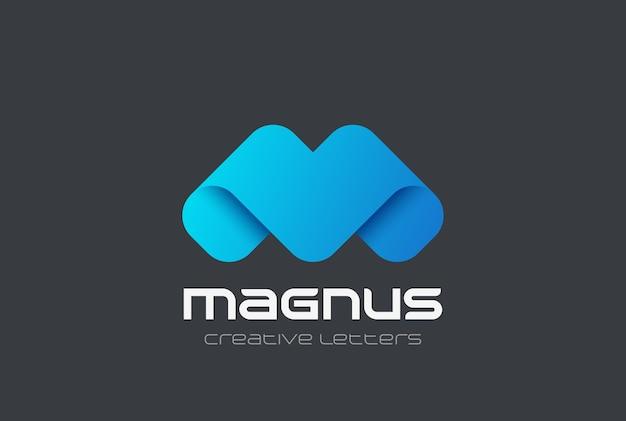 Ícone de design do logotipo corporativo de letra m. fita amigável
