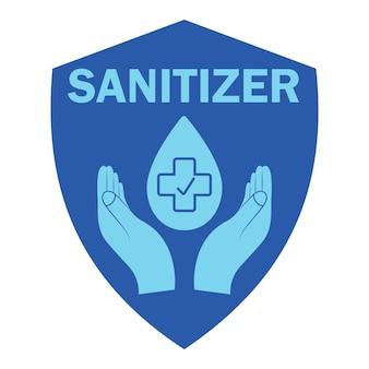 Ícone de desinfetante para as mãos na cor azul símbolo do desinfetante conceito de higiene, limpeza, desinfecção Vetor Premium