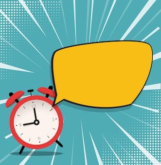Ícone de despertador com fundo de bolha do discurso. ilustração