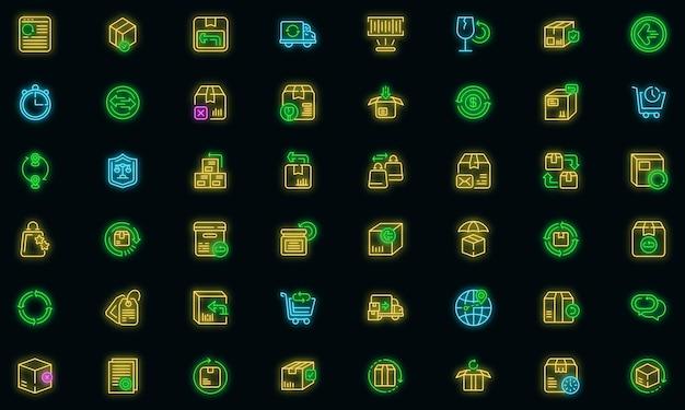 Ícone de devolução de mercadorias, estilo de contorno