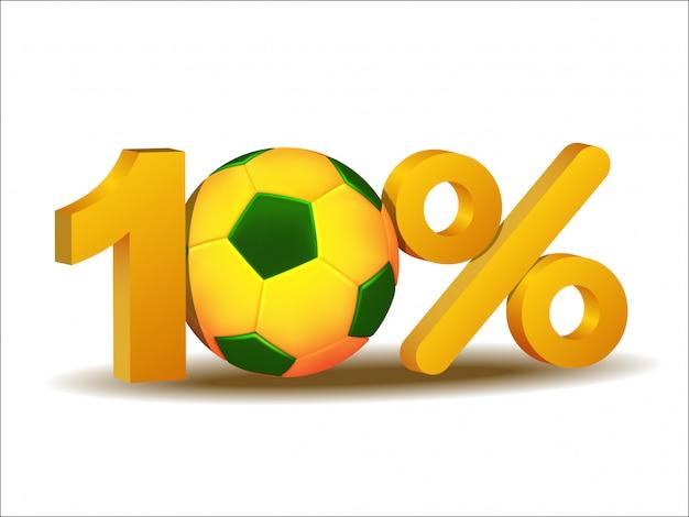 Ícone de dez por cento de desconto com bola de futebol do brasil