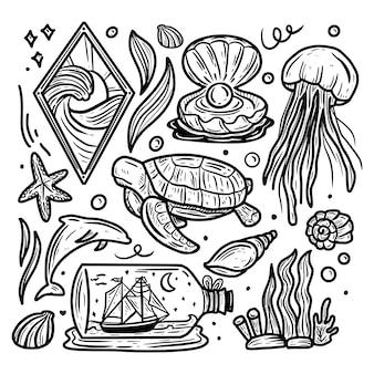Ícone de dia mundial do oceano doodle coleção de conjunto de ícones de desenho