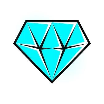 Ícone de diamante ciano brilhante. eps10 isolado de vetor