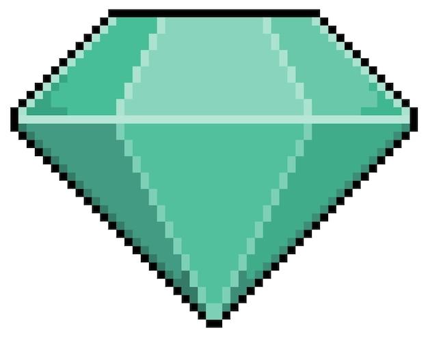 Ícone de diamante de pixel art para jogo de 8 bits em fundo branco