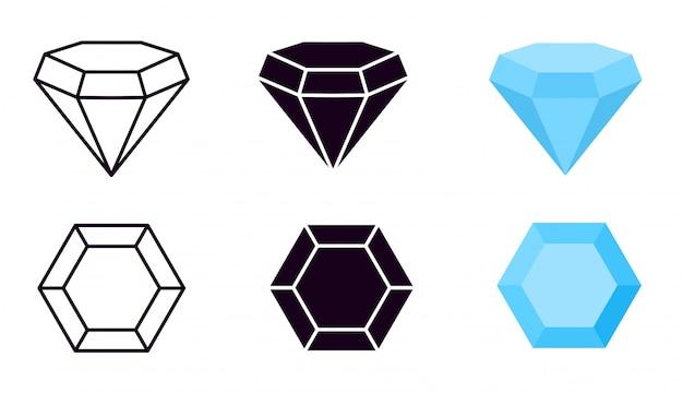 Ícone de diamante. gemas de diamantes, joias diamantes, pedras preciosas de luxo e brilhantes. linha, silhueta preta e sinais vetoriais planos azuis