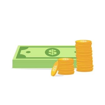 Ícone de dinheiro em estilo simples, isolado no branco