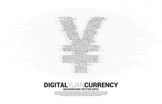Ícone de dinheiro moeda digital yuan do zero binário e um código. conceito de economia de moeda digital da china e conexão de rede financeira.