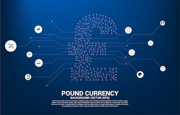 Ícone de dinheiro moeda libra esterlina do ponto de estilo de placa de circuito conectar linha.