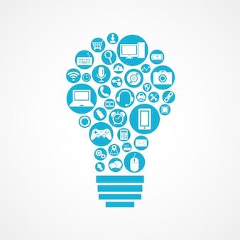 Ícone de dispositivos de tecnologia em forma de lâmpada