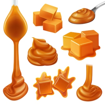 Ícone de doces de caramelo realista conjunto com líquido cremoso e gotas cremosas de caramelo