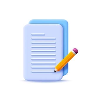Ícone de documento com estilo 3d