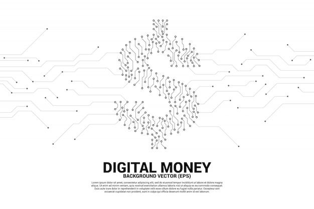 Ícone de dólar dinheiro do ponto conectar a placa de circuito de linha