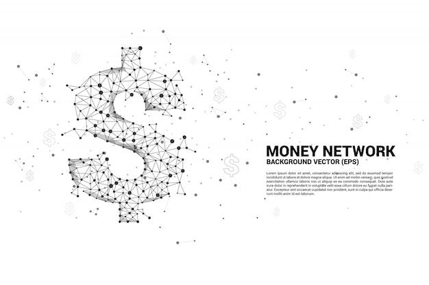 Ícone de dólar dinheiro vetor da linha de conexão de ponto de polígono