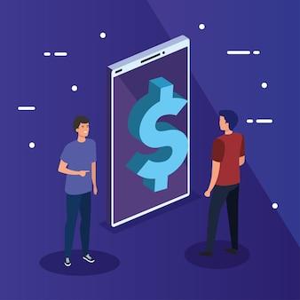 Ícone de dólar no smartphone com design masculino, análise de dados e tema de informação