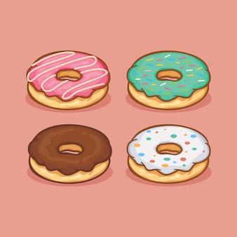 Ícone de donut isolado ilustração vetorial com cor simples de desenho de contorno Vetor Premium