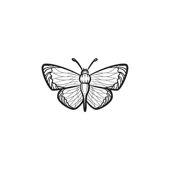 Ícone de doodle de contorno de borboleta desenhada mão vetorial. ilustração de desenho de borboleta para impressão, web, mobile e infográficos isolados no fundo branco.