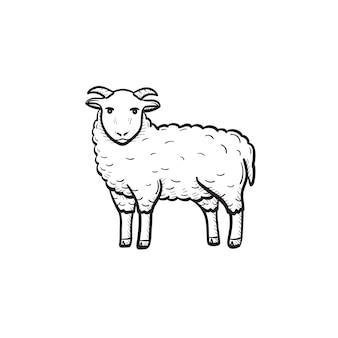 Ícone de doodle de contorno de cabra desenhada mão do vetor. ilustração do esboço de cabra para impressão, web, mobile e infográficos isolados no fundo branco.