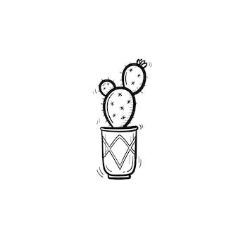 Ícone de doodle de contorno de cacto desenhada de mão vetorial. ilustração de esboço de planta decorativa em vaso para impressão, web, mobile e infográficos isolados no fundo branco.