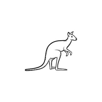 Ícone de doodle de contorno de canguru de vetor desenhado à mão. ilustração do esboço canguru para impressão, web, mobile e infográficos isolados no fundo branco.
