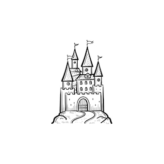 Ícone de doodle de contorno de castelo de conto de fadas desenhado à mão