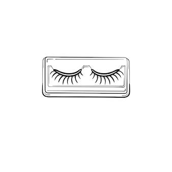 Ícone de doodle de contorno de cílios postiços de vetor desenhado à mão. cílios postiços esboçar ilustração para impressão, web, mobile e infográficos isolados no fundo branco.