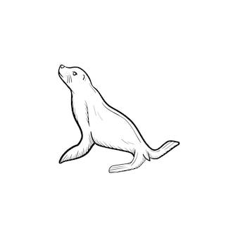 Ícone de doodle de contorno de foca de vetor desenhado à mão. ilustração de esboço de lobo-marinho para impressão, web, mobile e infográficos isolados no fundo branco.