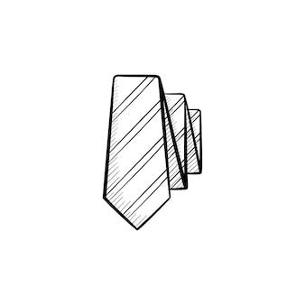 Ícone de doodle de contorno de gravata desenhada de mão vetorial. amarre a ilustração do esboço para impressão, web, mobile e infográficos isolados no fundo branco.