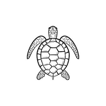 Ícone de doodle de contorno de tartaruga de vetor desenhado à mão. ilustração de desenho de tartaruga para impressão, web, mobile e infográficos isolados no fundo branco.