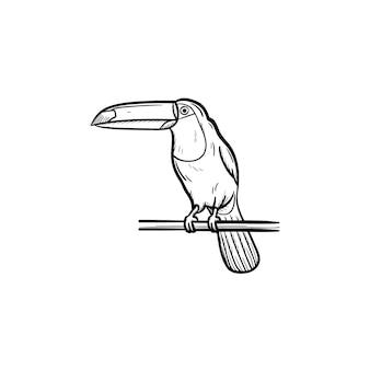 Ícone de doodle de contorno de tucano de vetor mão desenhada. ilustração do esboço de tucano para impressão, web, mobile e infográficos isolados no fundo branco.