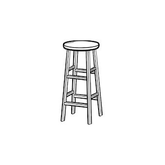 Ícone de doodle de contorno desenhado de mão banqueta. ilustração do esboço do vetor cadeira alta para impressão, web, mobile e infográficos isolados no fundo branco.