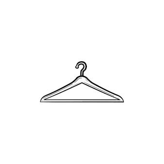 Ícone de doodle de contorno desenhado de mão cabide. moda, casual, venda, loja, varejo, loja, conceito de guarda-roupa