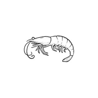 Ícone de doodle de contorno desenhado de mão camarão. ilustração em vetor desenho de frutos do mar saudáveis - camarão ou camarão para impressão, web, mobile e infográficos isolados no fundo branco.