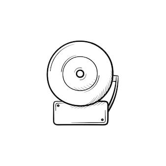 Ícone de doodle de contorno desenhado de mão de alarme de incêndio. ilustração em vetor desenho de alarme de incêndio para impressão, web, mobile e infográficos isolados no fundo branco.
