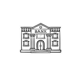Ícone de doodle de contorno desenhado de mão de banco. imobiliário, publicidade, finanças, negócios, arquitetura, conceito de cidade