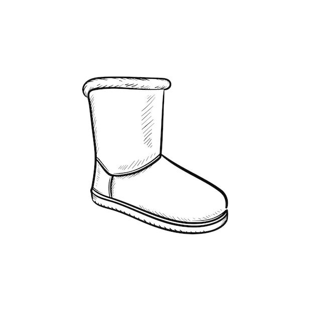 Ícone de doodle de contorno desenhado de mão de bota macia de inverno. estilo de calçado, moda, conforto, conceito de calçado quente de inverno