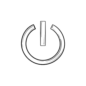 Ícone de doodle de contorno desenhado de mão de botão liga / desliga. ligar e desligar, botão iniciar, tecnologia e conceito de energia
