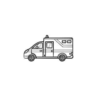 Ícone de doodle de contorno desenhado de mão de carro ambulância. paramédicos, medicina de emergência e conceito de ajuda
