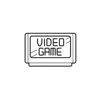 Ícone de doodle de contorno desenhado de mão de cartucho de videogame. dispositivo de jogo, cartucho de jogo retrô, conceito de entretenimento